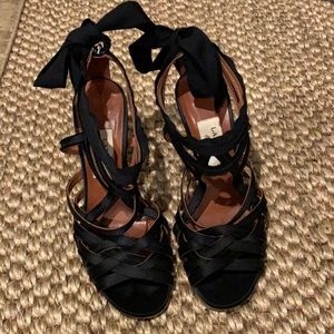 Lanvin black satin sandals heels. 4 inch heel